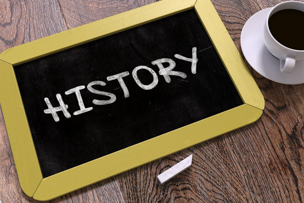 History Concept Hand Drawn on Yellow Chalkboard on Wooden Table. Business Background. Top View. 3D Render..jpeg